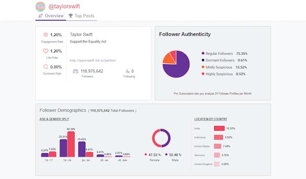 Analisa.io follower statistics