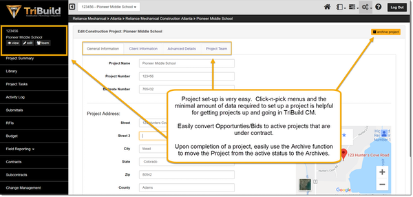 TriBuild Construction Management project setup screenshot.
