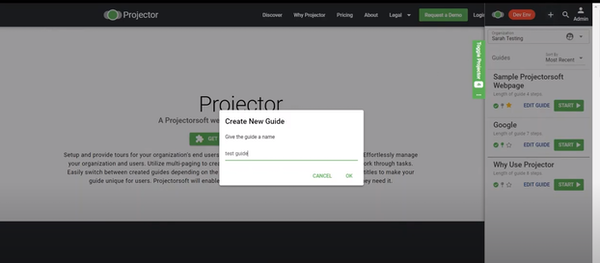 Projector create new guides