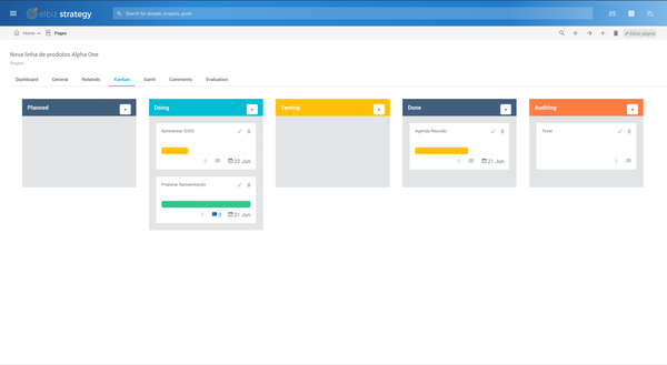 Elbiz Strategy Kanban board screenshot