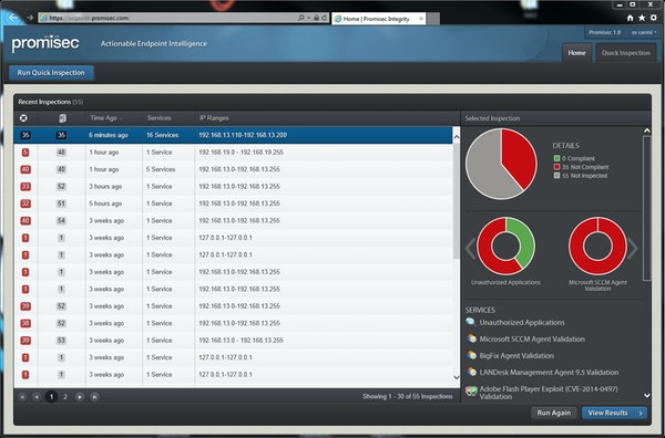 Promisec Endpoint Manager dashboard