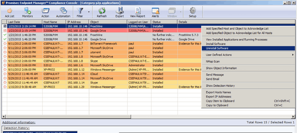 Promisec Endpoint Manager compliance console