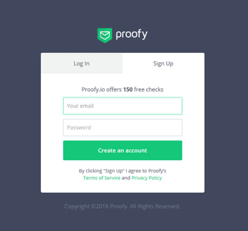 Proofy login page