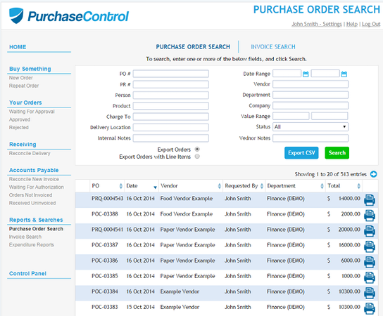 PurchaseControl purchase order search
