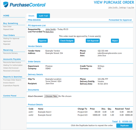 PurchaseControl order details