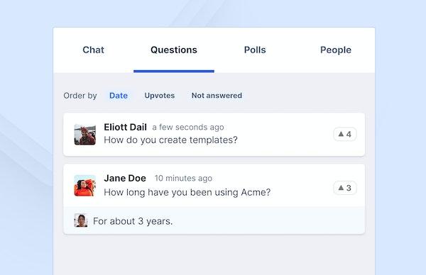 Livestorm participant questions