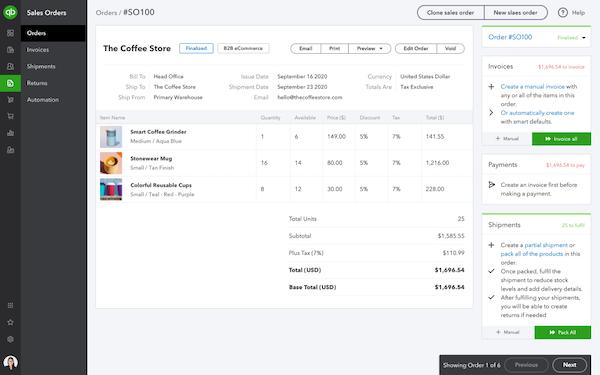 QuickBooks Commerce sales order