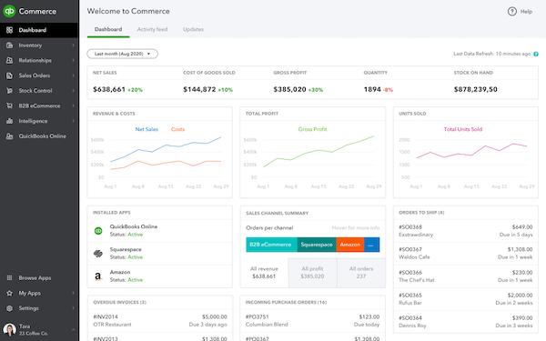 QuickBooks Commerce sales dashboard