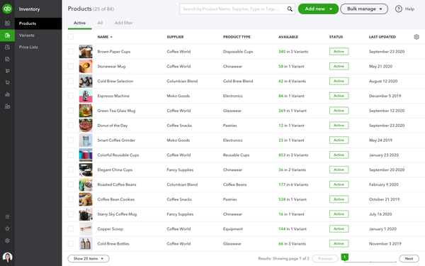 QuickBooks Commerce product list