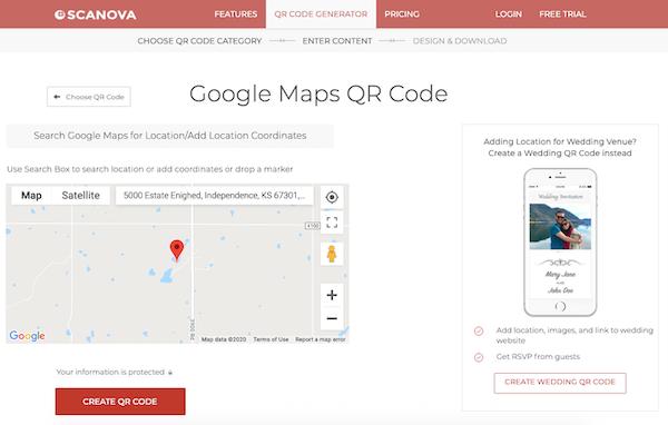 Scanova QR Code Generator Google Maps integration