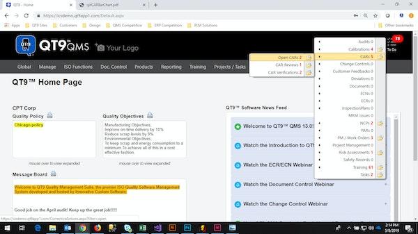 QT9 Quality Management homepage
