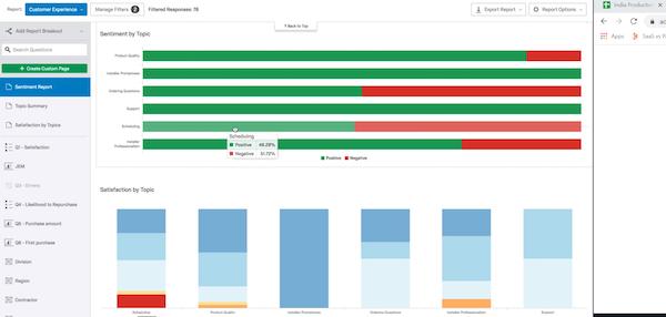 Qualtrics CoreXM sentiment scoring screenshot
