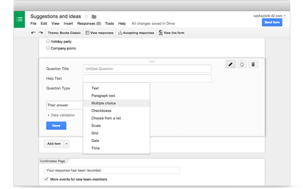 Google Forms selecting question types