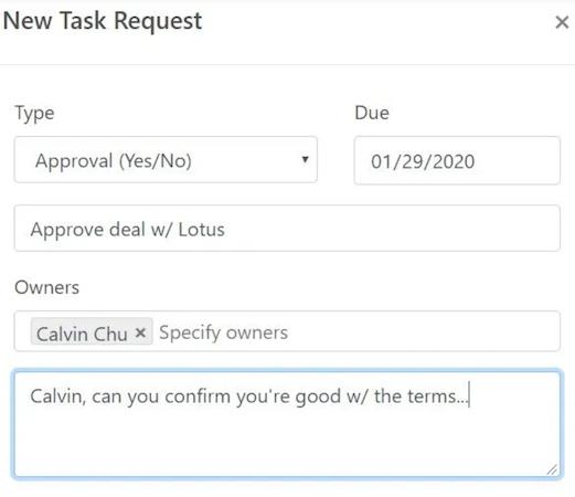 QvikList new task request