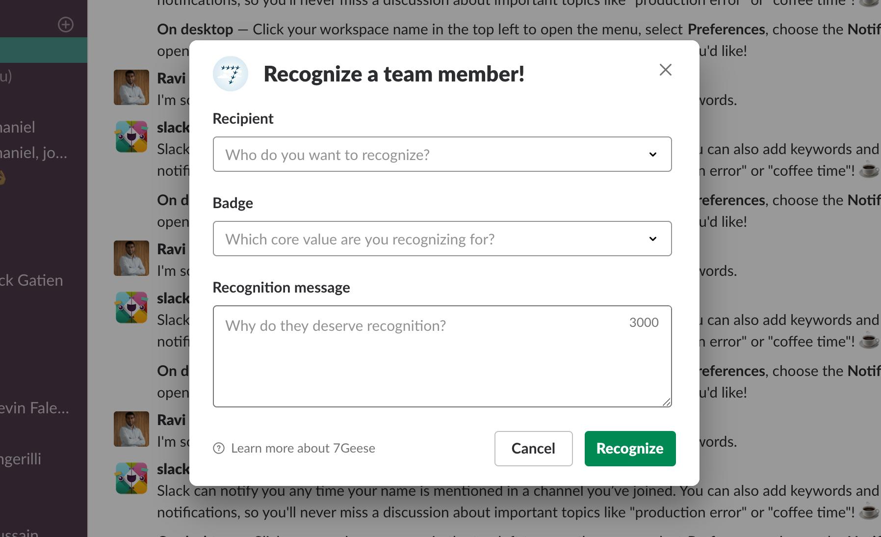 Recognizing a team member
