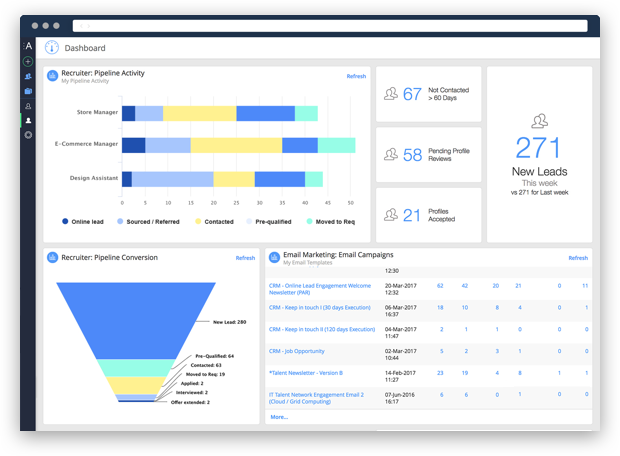 Recruiter dashboard