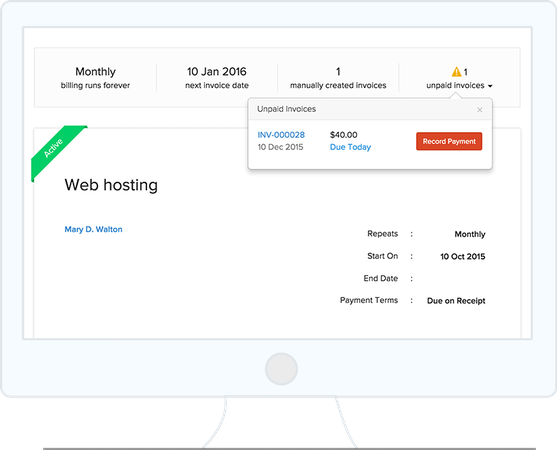 Zoho Invoice recurring invoice screenshot