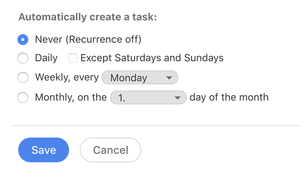 Recurring tasks