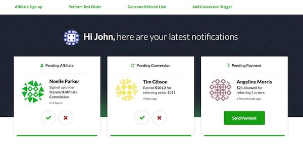 Refersion dashboard screenshot