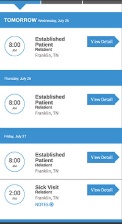 Relatient appointment scheduling screenshot