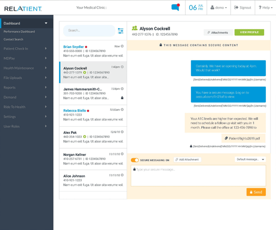 Relatient patient chat screenshot
