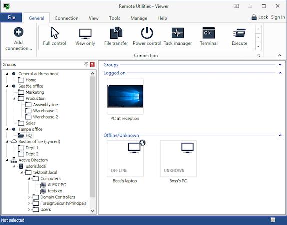 Remote Utilities main dashboard