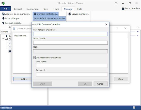 Remote Utilities add/edit domain controller