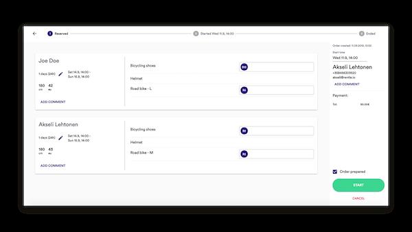 Rentle booking screenshot
