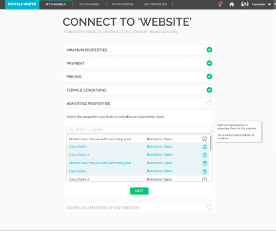 Rentals United listing tool screenshot