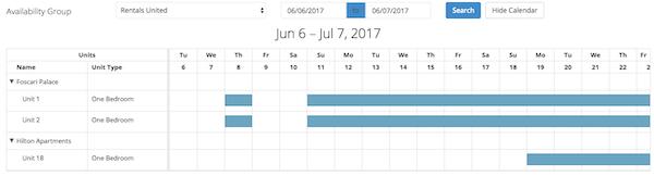 Rentals United calendar screenshot