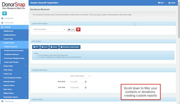 DonorSnap report screenshot