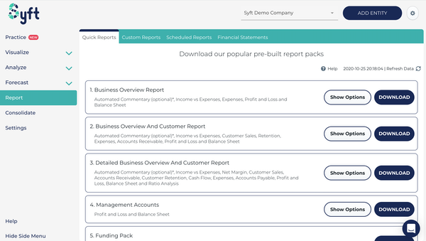 Download reports in seconds