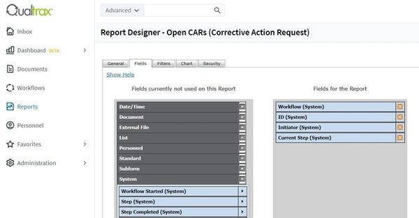 Qualtrax report designer