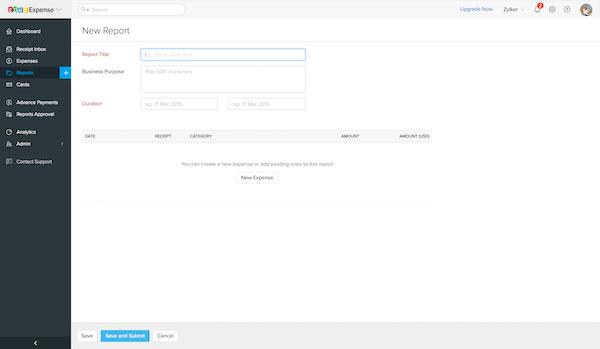 Zoho Expense - Zoho Expense new report screenshot.