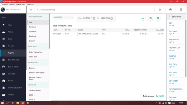 Vyapar transaction reports screenshot