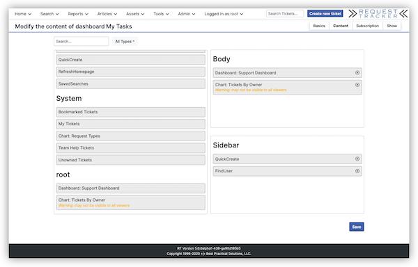 Request Tracker dashboard modification