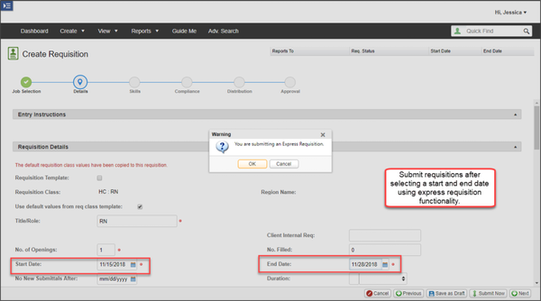 VectorVMS requisition creation screenshot.