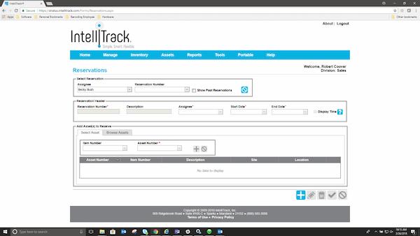 IntelliTrackAssets reservations management