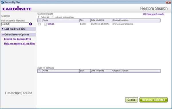 Restoring specific files