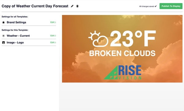 Rise Vision weather template