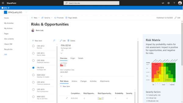 Risk details with related assessment values and action with SharePoint.