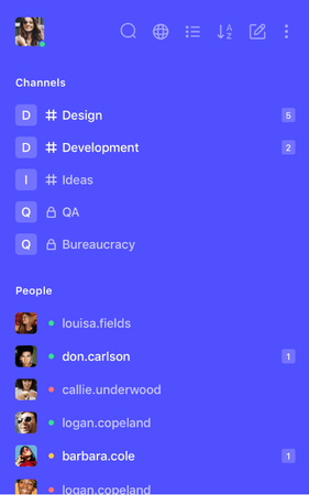 Rocket.Chat mobile interface