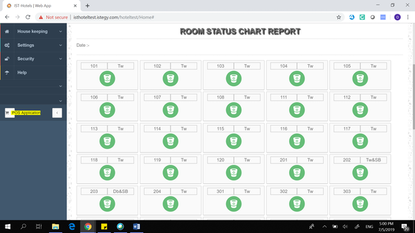 Hotel Management System room status chart screenshot