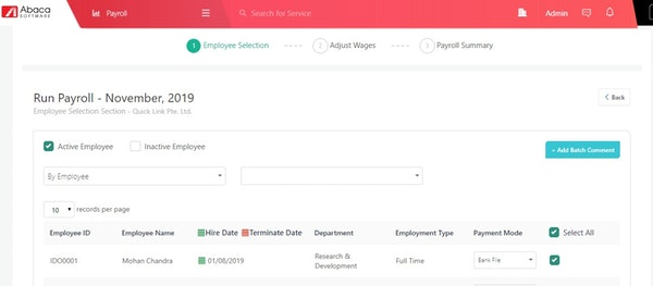 Abaca payroll processing screenshot