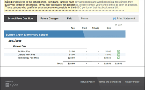Rycor school fees details