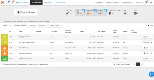 QuoteCloud dashboard screenshot