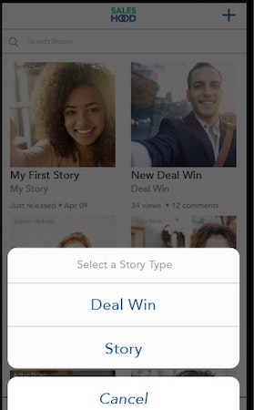 SalesHood deal-win story sharing screenshot