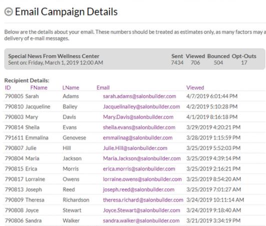 SalonBuilder email campaigns