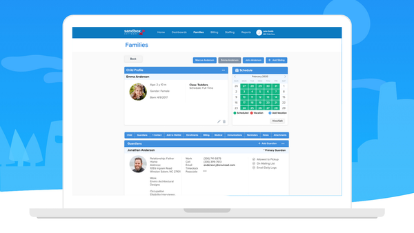 Sandbox Access all child information in the organized family profile.