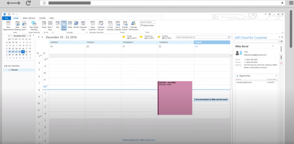 SAP Sales Cloud Microsoft Outlook Integration